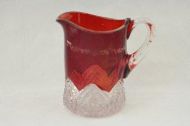 Antique EAPG Souvenir Ruby flash Glass Mug Topinabee Michigan