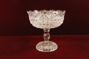 Glass Compote Fan and Geometric Designs