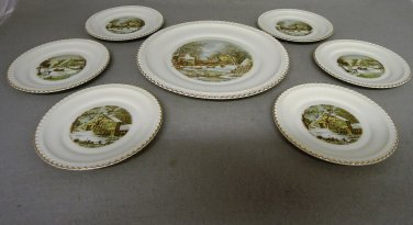 Vintage Currier & Ives Hackerware Plates Home Winter Collection Charger