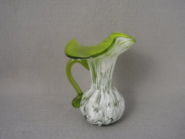 Vintage Rainbow Glass Spatter Vase  Green / White Applied Handle