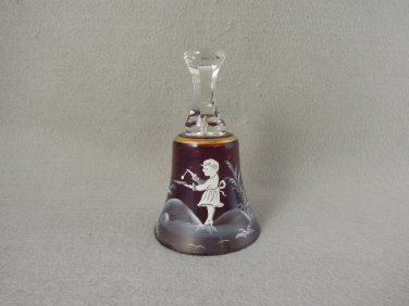 Mary Gregory style Glass Bell Clear Cranberry Gold Girl Painting Vintage