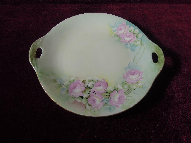 Antique O & E G hand painted cake plate pierced handles Royal Austria