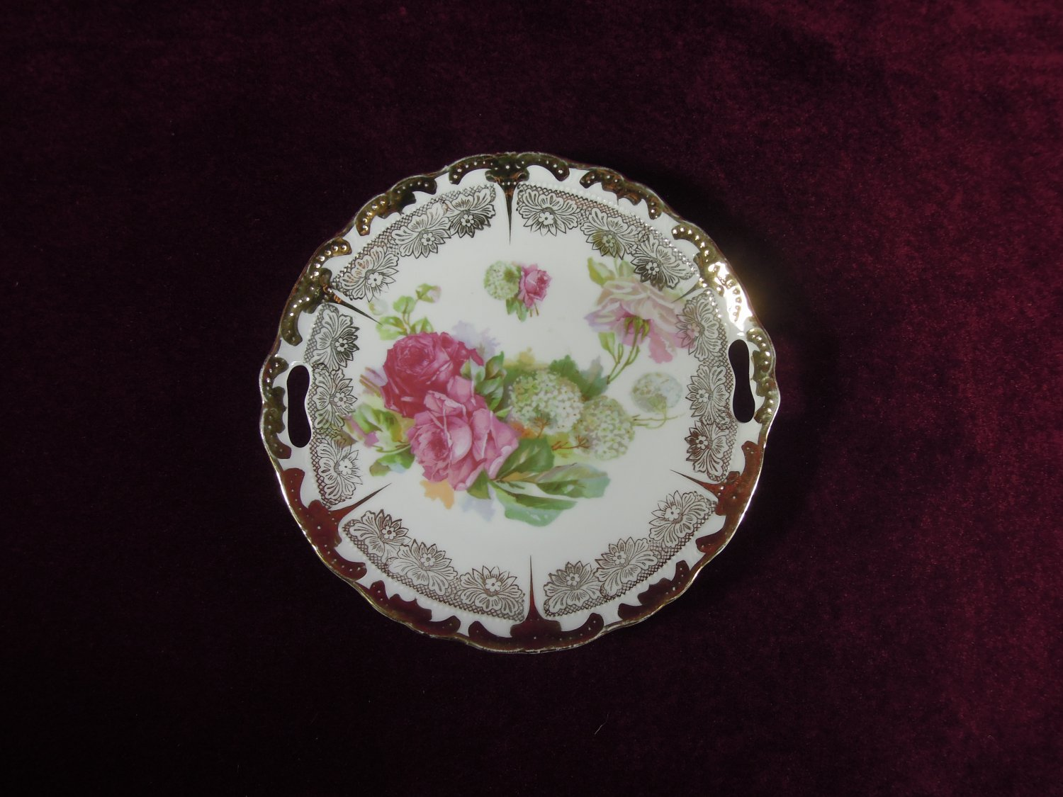 Antique Porcelain Cake Plate Roses Gold Accents Collectible