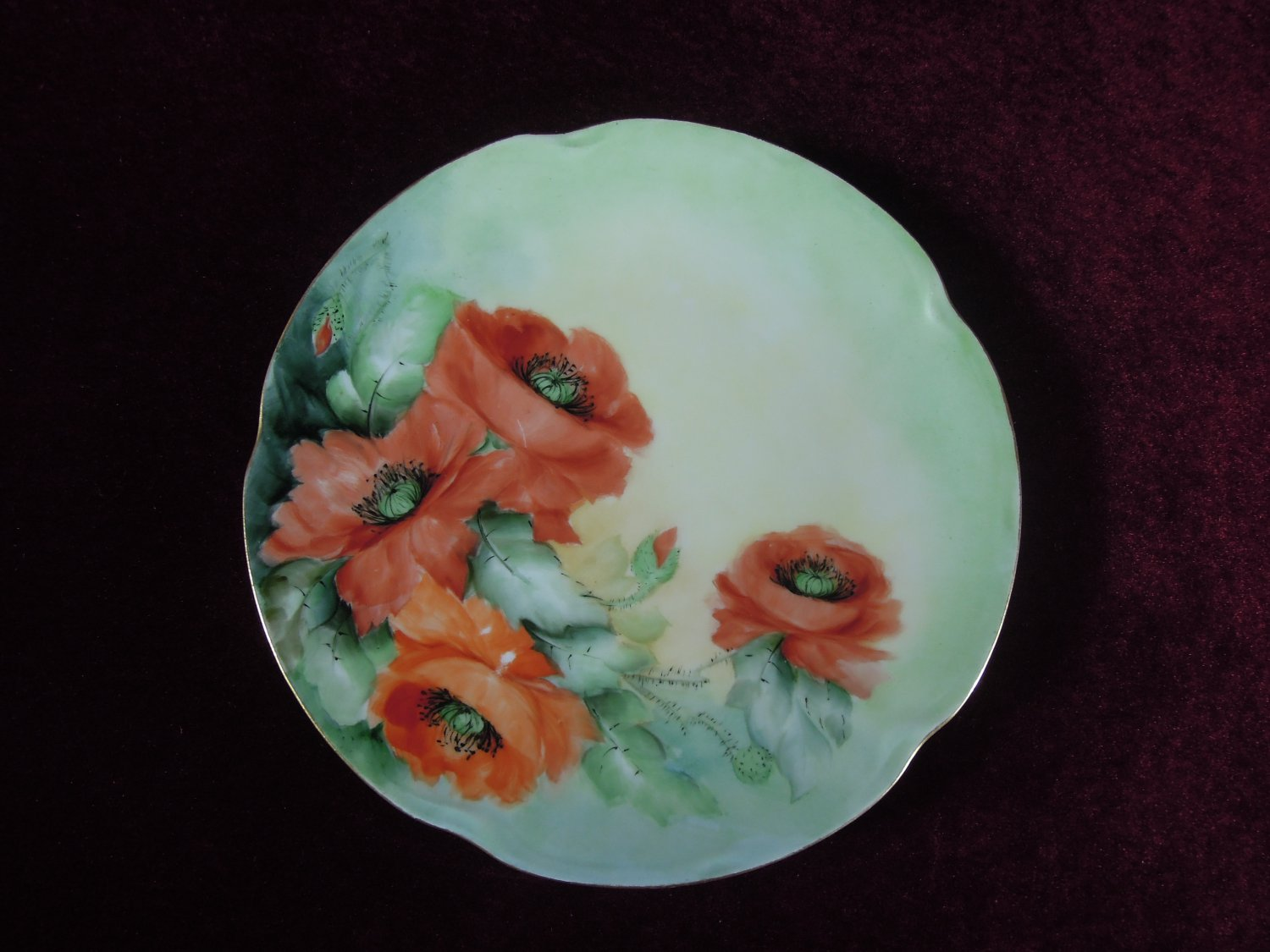 Antique Cabinet Plate Beautiful  Poppies