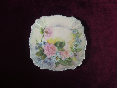 Antique Cabinet Plate Roses Embossed Scalloped Rim