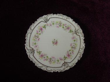 Antique Cabinet Plate Scalloped Edges Floral Gold Tim