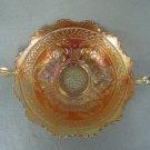 Vintage Fenton Glass Cherry Circles handled Bowl Marigold Carnival