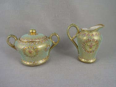 Antique Creamer and Sugar Bowl jeweled Gold Tones