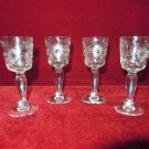 Crystal  Cordial Glasses etched Floral Desgn