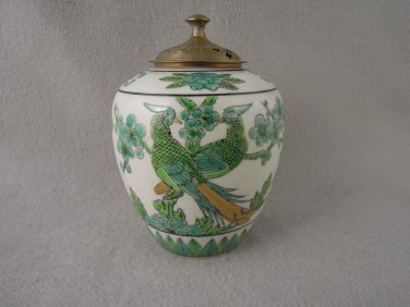 Porcelain Bird Container engraved brass top Vintage