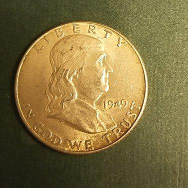 1949 early franklin half nice au silver coin