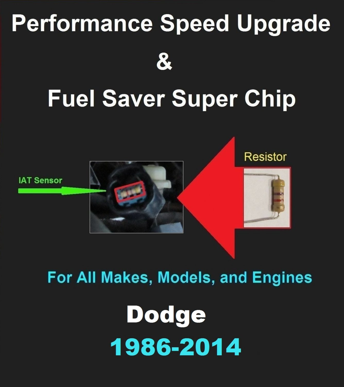 Dodge Performance IAT Sensor Resistor Chip Mod Kit Increase MPG HP Speed Power Super Fuel Gas Saver