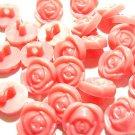 20 pcs Pink Rose Plastic T Shirt 11mm Button DIY118