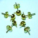 10 pairs Nickel Free Gold Tone Earring Studs & Back DIY172a