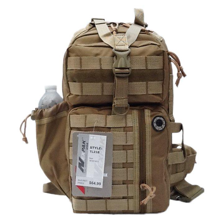 """18"""" 1200 cu. in. Tactical Sling Single Shoulder Backpack TL318 TAN"""