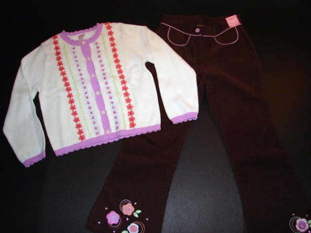 NWT Snow Blossom Sweater and Cord Pant Outfit sz 7