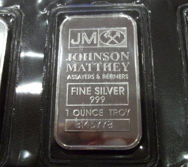 Johnson Matthey .999 silver Ten 1 Troy Ounce Bars Sheet