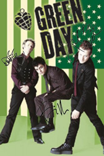 Green Day Autographed Signed Green American Flag Poster