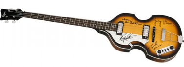 The Beatles Autographed Signed Lhanded Hofner Bass Guitar Lennon Mccartney