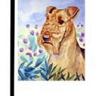 """Airedale (Among the Flowers) - 11""""""""x15"""""""" 2-Sided Garden Banner"""
