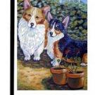 """Corgi (Two Corgis - Mona and Lisa) - 11""""""""x15"""""""" 2-Sided Garden Banner"""