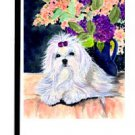 "Maltese (Waiting with Flowers) - 11""""x15"""" 2-Sided Garden Banner"