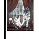 "Norwegian Elkhound (Window Seat) - 11""""x15"""" 2-Sided Garden Banner"