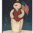Flag Waving Snowman Toland Art Banner