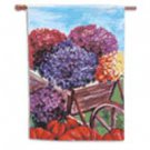 Wheelbarrow with Mums Toland Art Banner