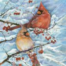 Cardinals and Berries Toland Art Banner