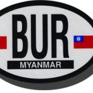 Myanmar (Burma) Oval Decal (old)