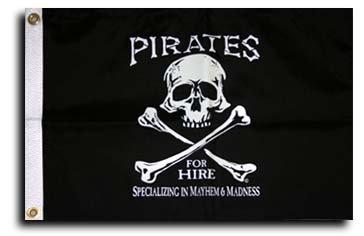 "Pirates for Hire - 12""""X18"""" Nylon Flag"
