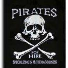 "Pirates for Hire - 18""""X24"""" Nylon Flag"