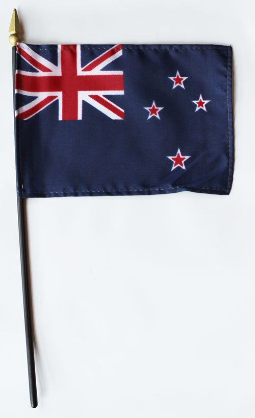 "New Zealand - 4""""X6"""" Stick Flag"