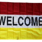 Welcome -3'X5' Nylon Flag (red/white/yellow)