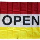 Open - 3'X5' Nylon Flag (red/white/yellow)