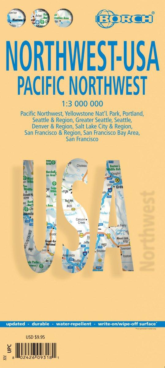 USA Northwest - Laminated Borch Road Map