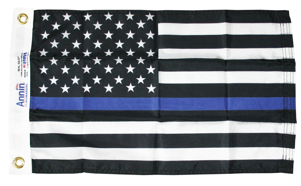 "Thin Blue Line - 12""X18"" Nylon Flag"