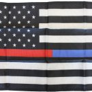 "Thin Red/Blue Line (USA) - 12""X18"" Nylon Flag"