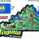 Virginia State Map Die Cut Sticker