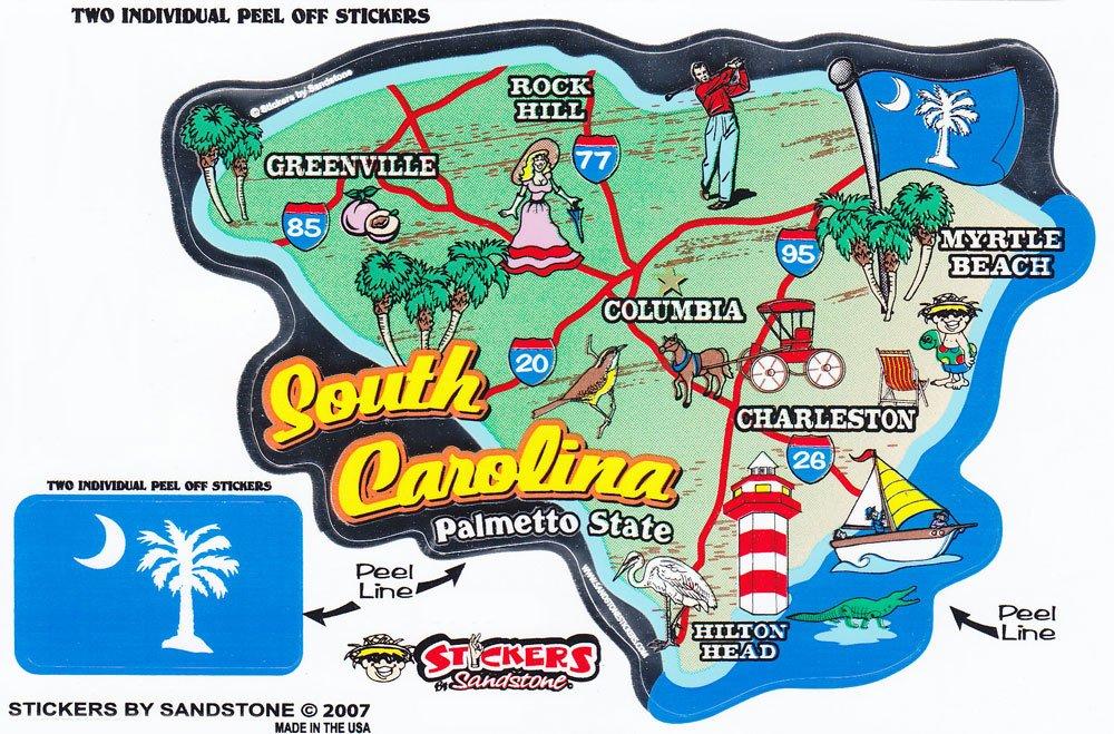 South Carolina State Map Die Cut Sticker