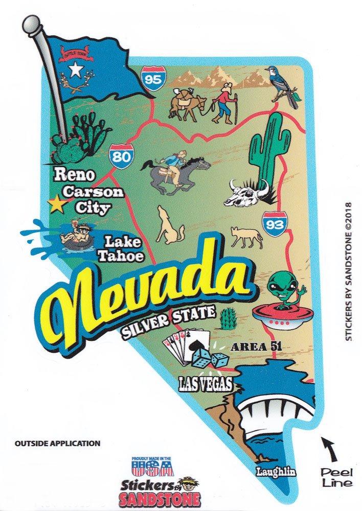 Nevada State Map Die Cut Sticker