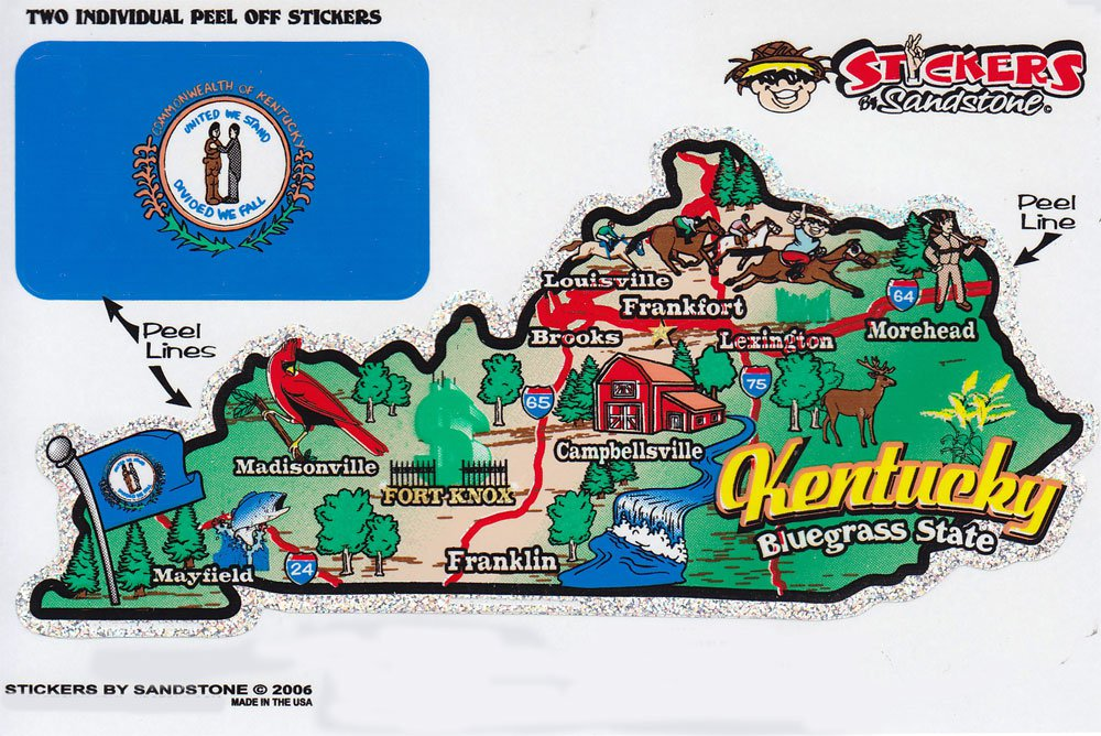 Kentucky State Map Die Cut Sticker