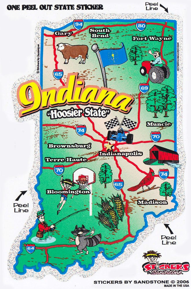 Indiana State Map Die Cut Sticker