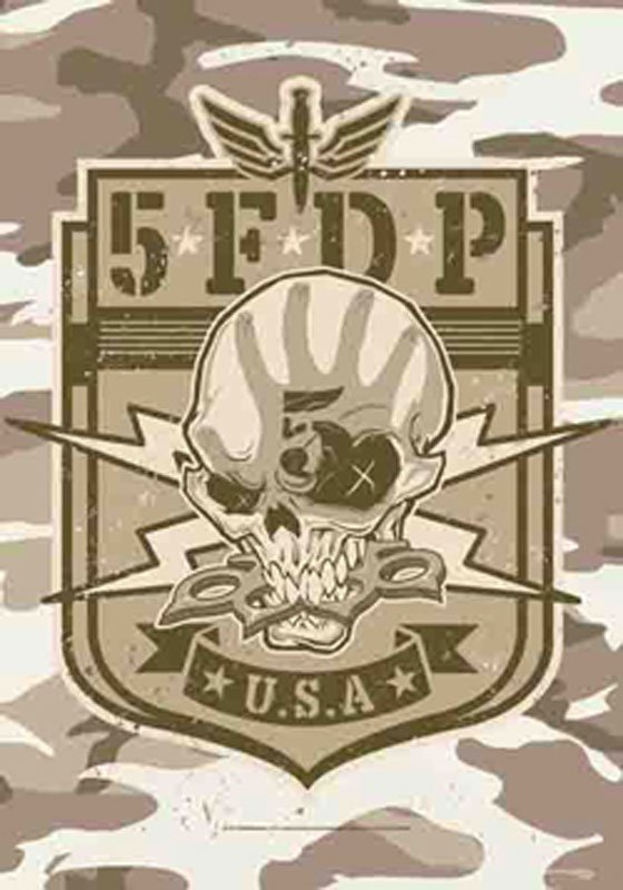 Five Finger Death Punch Textile Poster (Camo Skull)