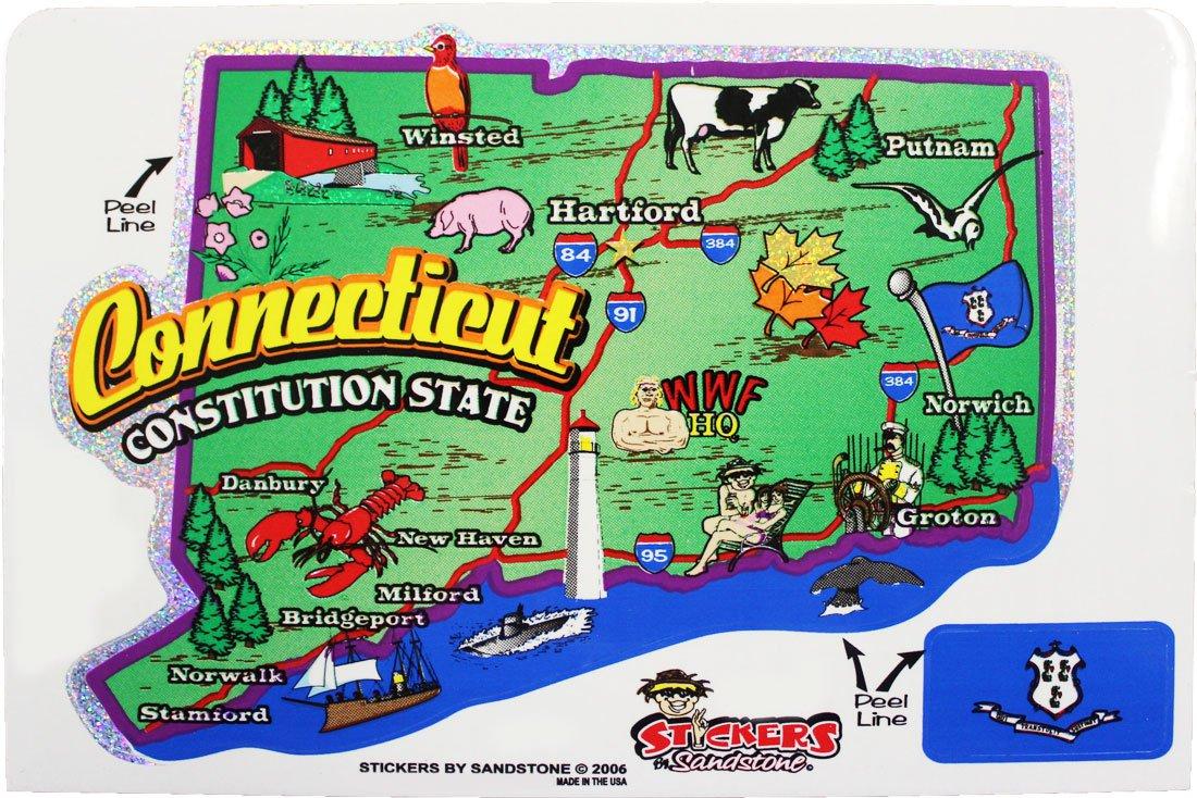 Connecticut State Map Die Cut Sticker