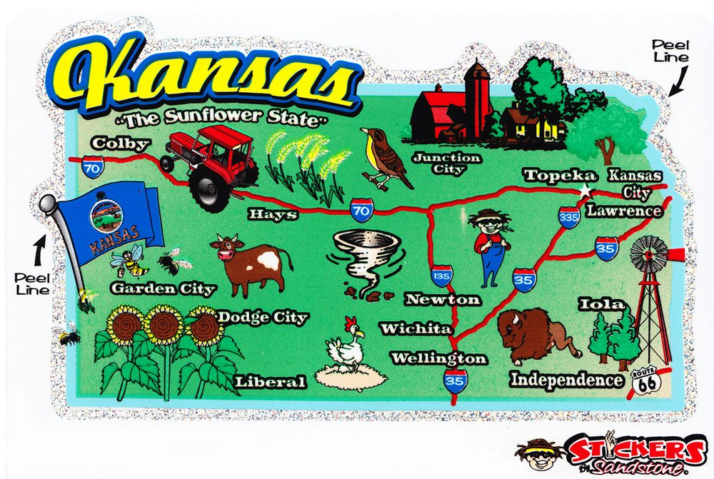 Kansas State Map Die Cut Sticker