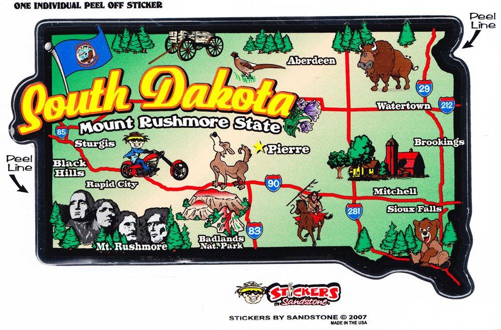 South Dakota State Map Die Cut Sticker