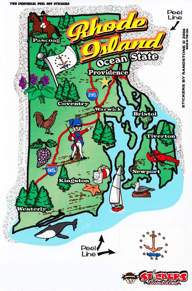 Rhode Island State Map Die Cut Sticker