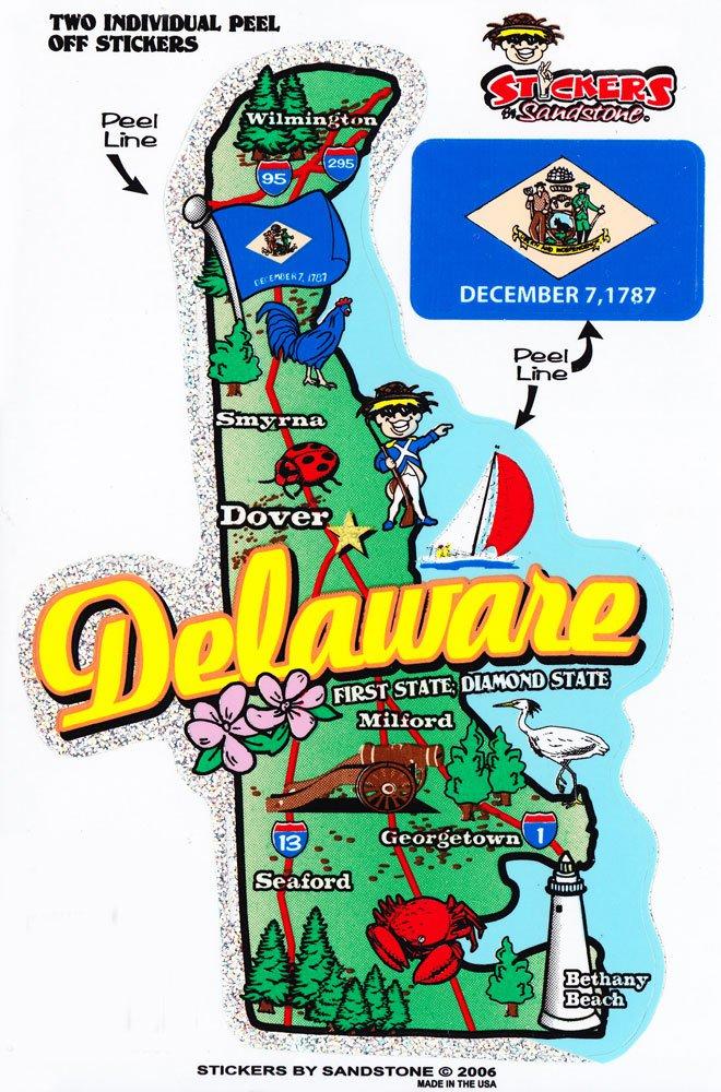 Delaware State Map Die Cut Sticker